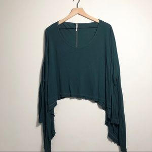 Free People Teal Asymmetrical Henley Batwing Shirt